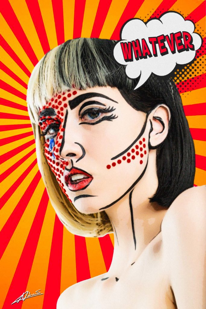 Pop art  face of wonam with red dots make up.
