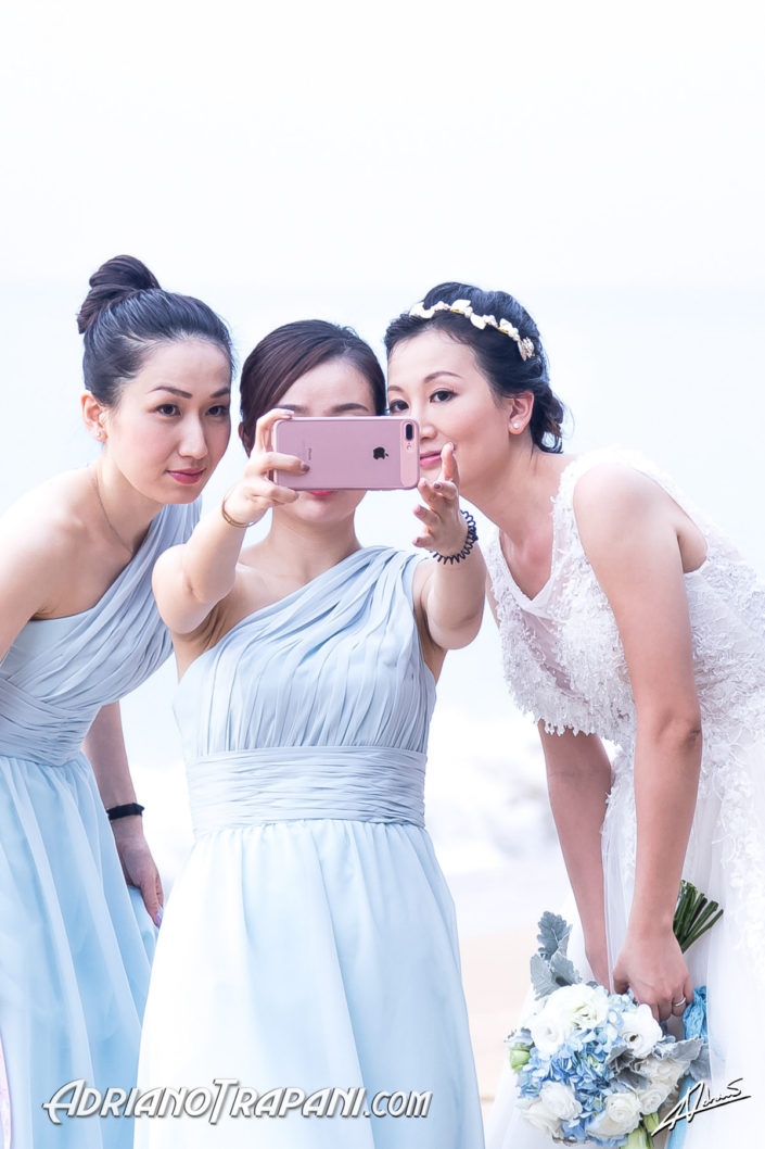 Wedding photography bride and bridesmades selfie.