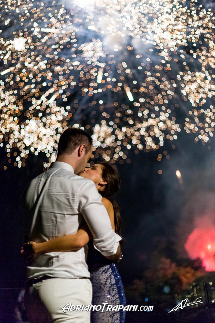 Wedding photography bride and groom with fireworks.