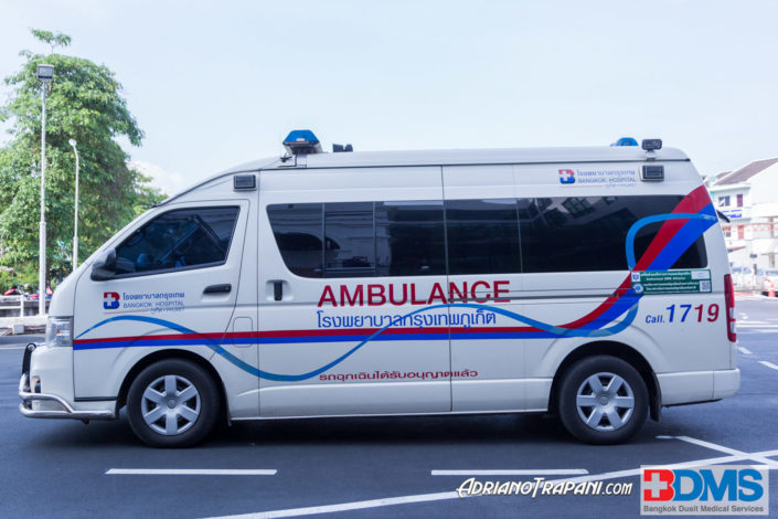 Real Estate Business Photography BDMS Bangkok Hospital Phuket Exterior with Ambulance